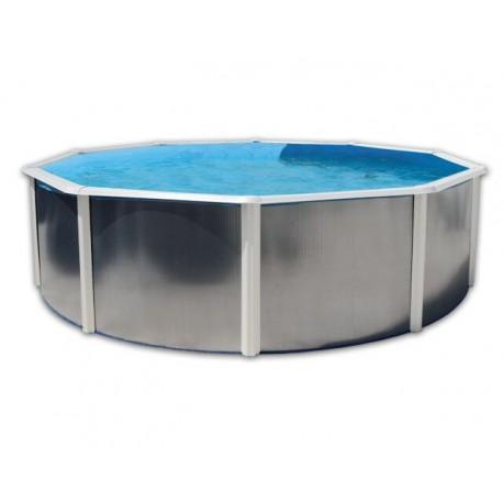 Schwimmbad Hors Sol 460 x 120 Ringmauer starre verzinkt Silber Luna weiß TOI