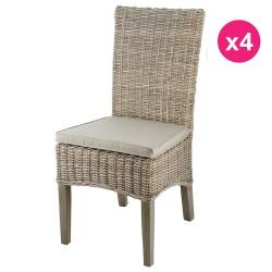 Satz von 4 Stühlen in eine Hälfte Füße aus Teakholz Kubu getönt grau KosyForm
