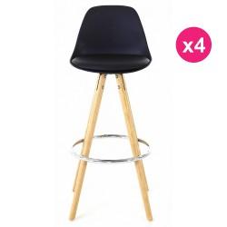 Satz von 4 Stühlen schwarz Sockel Eiche KosyForm Werk Plan