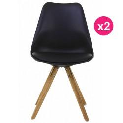 2er Set Stühle schwarz Sockel Eiche KosyForm