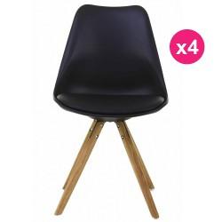 Satz von 4 Stühlen schwarz Sockel Eiche KosyForm