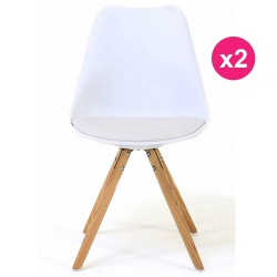 Set of 2 chairs white oak KosyForm base
