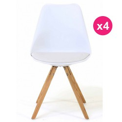 Set of 4 chairs white oak KosyForm base