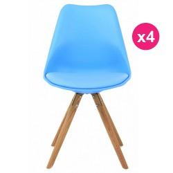Satz von 4 Stühlen blau Eiche KosyForm Basis