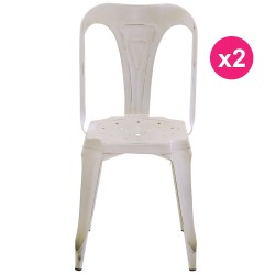 Set of 2 chairs industrial Metal white aged KosyForm