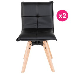 Lot de 2 Chaises Similicuir Noir KosyForm