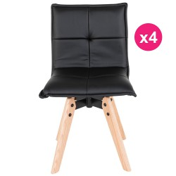 Lot de 4 Chaises Similicuir Noir KosyForm