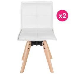 2er Set Stühle Leder weiß KosyForm