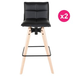 Lot de 2 Chaises de Bar Similicuir Noir KosyForm