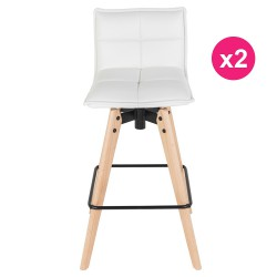 Lot de 2 Chaises de Bar Similicuir Blanc KosyForm