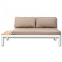 Canapé Sofa de Jardin KosyForm Lounge Design Blanc Aluminium et Bois d'Eucalyptus Blanchi