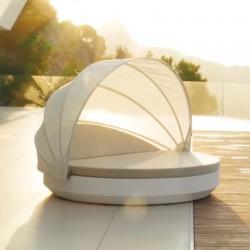 Bain de Soleil Vela Daybed Vondom Blanc Mat Rond Inclinable Parasol