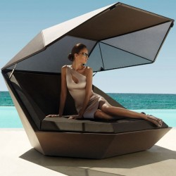 Sun shell FAZ Vondom Daybed white matte with sunshade