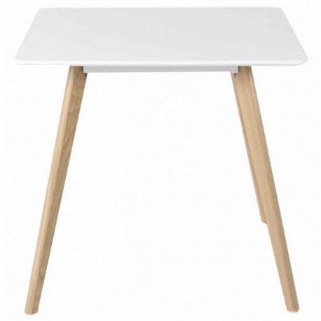 Table Repas Chêne et Laqué Blanc 80x80 Scany KosyForm