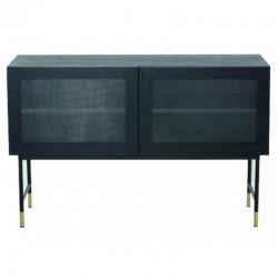 Baixa em folheado de carvalho preto com portas de vidro e pés preto Tozzini KosyForm Metal móveis