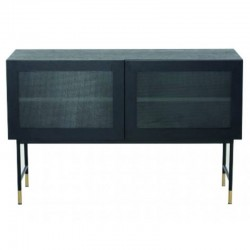 Tief im Furnier Eiche schwarz mit Glastüren und Füße schwarz Tozzini KosyForm Metall Möbel