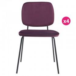 Set di 4 sedie in velluto viola Lide KosyForm pasti