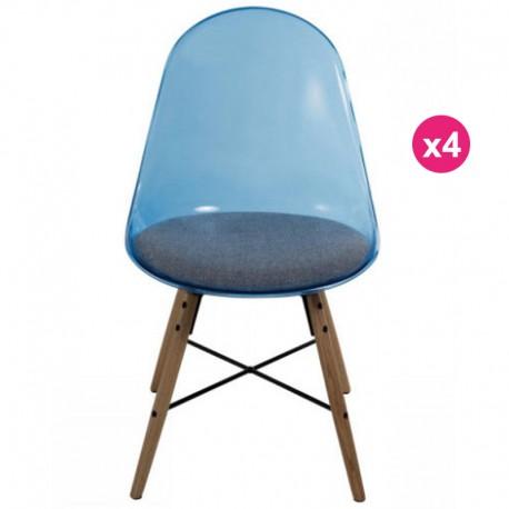 Satz von 4 Stühlen transparent blau Polycarbonat und Plexiglas KosyForm Kissen