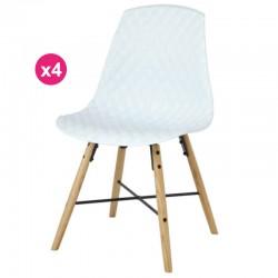 Satz von 4 Stühlen Polypropylen Weißeiche Vigi KosyForm Basis