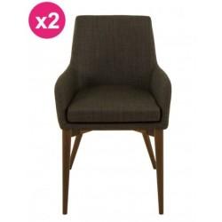 Conjunto de 2 sillas en tela KosyForm de Faro gris intenso