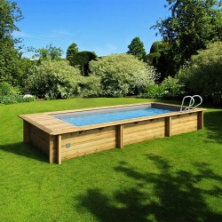 Urban pool Procopi wood 600 x 250 x H 133 automatic cover with trunk