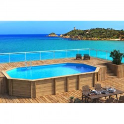 Pool Weva octagonal + 640 x 404 x h133 BWT myPOOLPiscine wood wood octagonal Weva + 640 x 404 x h133 BWT myPOOL