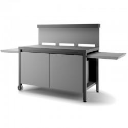 Rolltisch Kreativität Stahl schwarz und hellgrau für Planchas Schmiede Adour