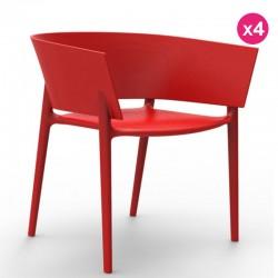 Conjunto de 4 sillas VONDOM diseño Africa red