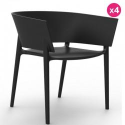 Set di 4 sedie VONDOM design Africa nero