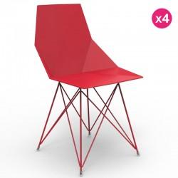 Conjunto de 4 cadeiras FAZ Vondom pés de aço inoxidável vermelho sem braços