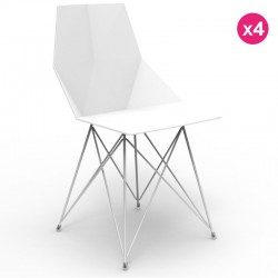 Set di 4 sedie FAZ VONDOM piedi in acciaio inox bianco senza braccioli