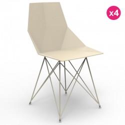 Set von 4 Stühlen FAZ Vondom Edelstahl-Beine Ecru ohne Armlehnen