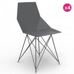 Juego de 4 sillas FAZ VONDOM patas de acero inoxidable negro sin apoyabrazos