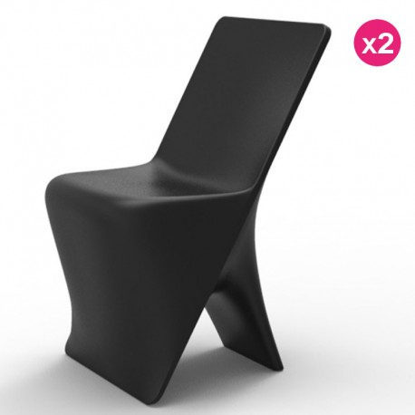 Set of 2 chairs Vondom design Sloo black