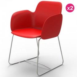 Satz von 2 Stühlen Vondom Pezzettina rote Matte und Metall