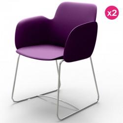 Juego de 2 sillas VONDOM Pezzettina violeta mate y metal