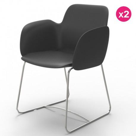 Pack of 2 chairs Vondom Pezzettina anthracite Matt and metal