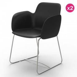 Pack de 2 sillas VONDOM Pezzettina negro Matt y metal