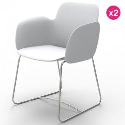 Juego de 2 sillas VONDOM Pezzettina blanco mate y metal
