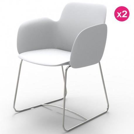 Set of 2 chairs Vondom Pezzettina white Matt and metal