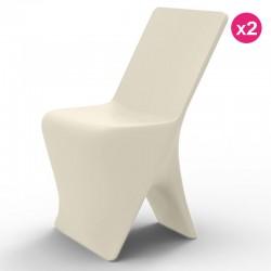 Lot de 2 Chaises Vondom Design Sloo Ecru