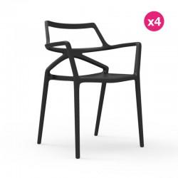 Conjunto de 4 sillas Delta VONDOM negro
