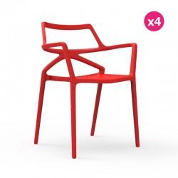 Set di 4 sedie Delta VONDOM Red