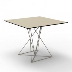 Table Faz Vondom Ecru Piètement Inox 80x80xH72