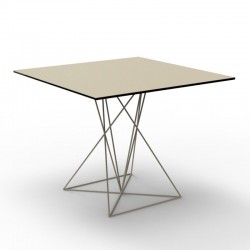 Table FAZ Vondom Ecru stainless steel base 80x80xH72
