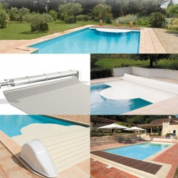 Automatic blade pool flap with 8x4 Igloo 2 White above-ground reel