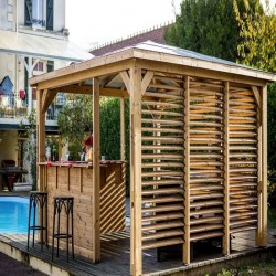 Blueterm Wood Garden Kiosk 12.32 m2 with Comptoirs and 2 Habrita Walls
