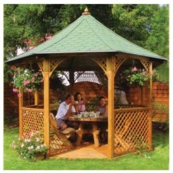 Habrita octagonal pavilion in solid wood diameter of 3.46m with Shingles