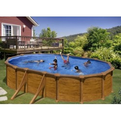 Gre oval wood-looking pool Mauritius 610×375 with sand filter