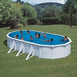 GRE Above-ground oval swimming pool Fiji 730×375 with sand filter